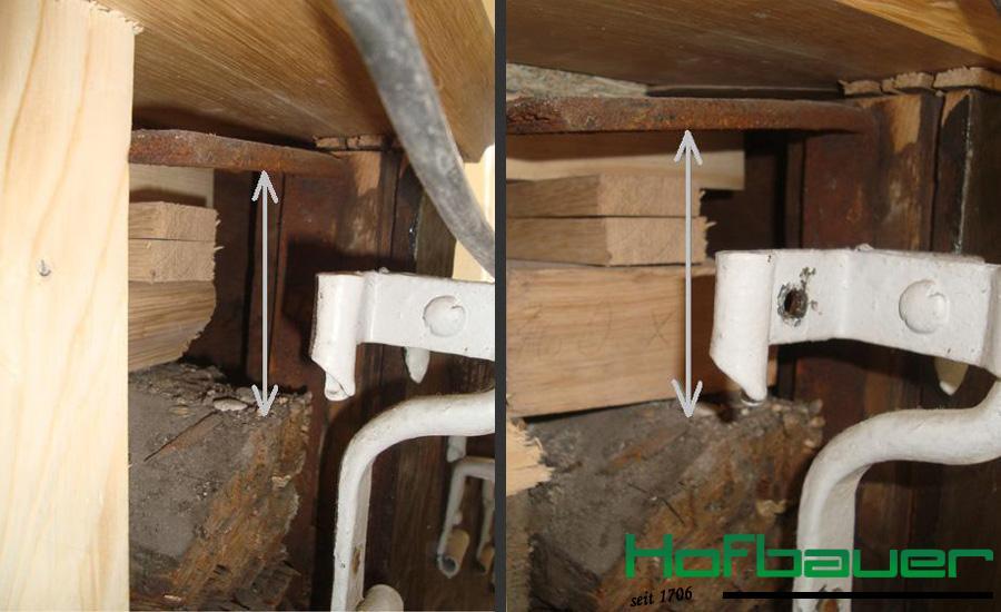 Detailaufnahme nach dem hydraulischen Heben der Treppenanlage